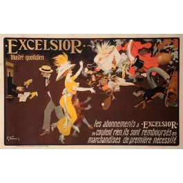 "Original Vintage French OVERSIZE Poster for ""Excelsior"" by Grun ca. 1920"