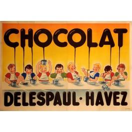 "Original Vintage French OVERSIZE 2 PARTS Poster for ""Chocolat Delespaul-Havez"" ca. 1900"