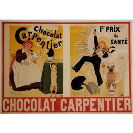 """Original Vintage French OVERSIZE Poster for """"Chocolat Carpentier"""" by H. Gerbault ca. 1895"""