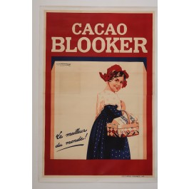 "Original Vintage French OVERSIZE 2 PARTS Poster for ""Cacao Blooker"" by E. Courchinoux d'apres X"" 1934"