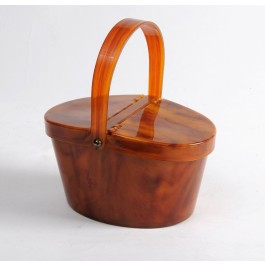 Rare Vintage Butterscotch Lucite Purse Picnic Basket Mirror Bag by Josef