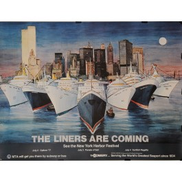 """Original Vintage Poster for """"The Liners Are Coming"""" NY Harbor Festival 1977"""