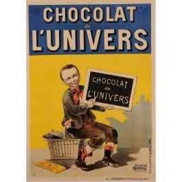 "Original Vintage French Poster for ""Chocolat de L'Univers"" Signed Monogram"