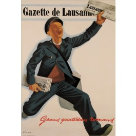 "Original Vintage Swiss Poster Advertising ""The Gazette de Lausanne"" by Richmond"