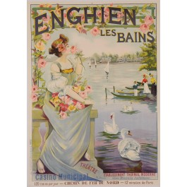 """Original Vintage French Poster Advertising """"Enghien les Bains"""" by R. Tournon"""
