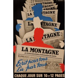 "Original Vintage French Newspaper Poster ""La Montagne"" by Robert Falcucci 1950's"