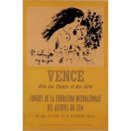 """Original Vintage French Poster for """"Vence Cite des Fleurs et des Art"""" by CHAGALL"""