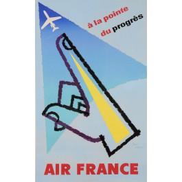 "Original Vintage French Poster ""A La Pointe Du Progrés Air France"" by J. Carlu"