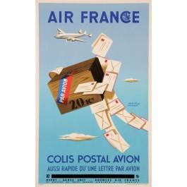 "Original Vintage French Poster for""Air France Colis Postal Avion"" by H. Morvan"