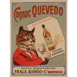 "Original Vintage Spanish Poster Advertising ""Cognac Quevedo"" Cat 1920's"