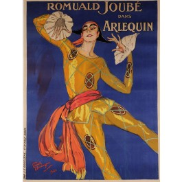 "Original Vintage French Poster for ""Arlequin"" Romuald Joubé by Domergue 1921"