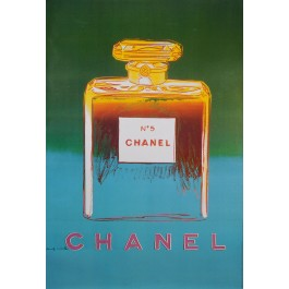 Original Vintage French Poster for Chanel 5 by Andy Warhol - Green/Light Blue