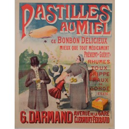 "Original Vintage French Poster Advertising ""Pastilles au Miel"" by Lovis ca. 1920"