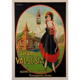"Original Vintage Italian Alcohol Poster Advertising ""Amaro Valsesia"" Aperitif"