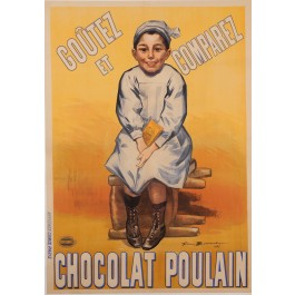"Original Vintage French Poster Advertising ""Chocolat Poulain"" by Firmin Bouisset"