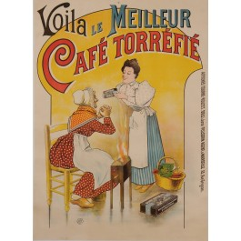 """Original Vintage French Poster Advertising """"Cafe Torrefie"""" Coffee ca. 1900"""