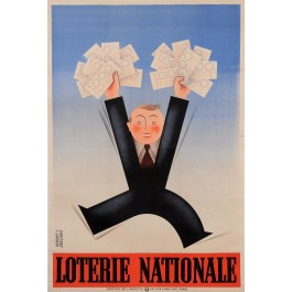 "Original Vintage French Poster for ""Loterie Nationale"" by Derouet Grilleres 1936"