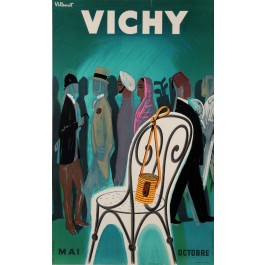 "Original Vintage French Travel Poster for ""Vichy"" Spa Resort by Villemot 1953"