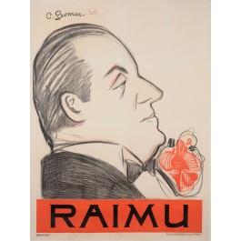"Original Vintage French Poster for ""Raimu"" Actor by Charles Gesmar 1924"