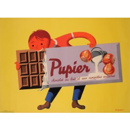 "Original Vintage French Poster Advertising ""Chocolat Pupier"" by Rohonyi 1950's"