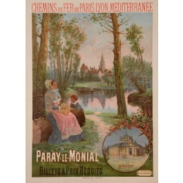 "Original Vintage French Travel Poster for ""Paray Le Monial"" by F. Hugo D'Alesi"