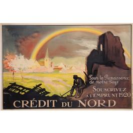 """Original Vintage French Poster for """"Emprunt 1920 - Crédit du Nord"""" by J. Carlu"""