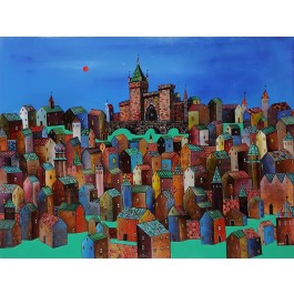 """Original Acrylic on Canvas Russian Painting """"The Castle"""" by Rykov ca. 1999"""
