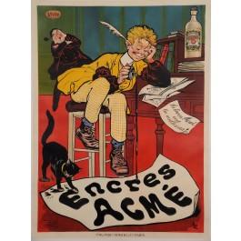 "Original Vintage French Poster Advertising ""Encres Acme"" Ink by Oge 1919"