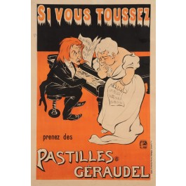 "Original Vintage French Poster for ""Si Vous Toussez - Pastilles Geroudel"" by Oge"