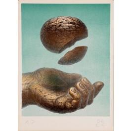 "Original Vintage Hand Signed Lithograph ""Hand and Sphere"" De Es Schwertberger"
