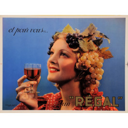 "Original Vintage French Poster Advertising ""Regal"" Alcohol 1960's"