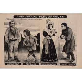 "Original Vintage French Poster ""Principaux Personnages"" by Oge ca. 1900"