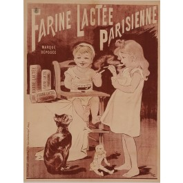 "Original Vintage French Poster for ""Farine Lactee Parisienne"" by Oge ca. 1896"
