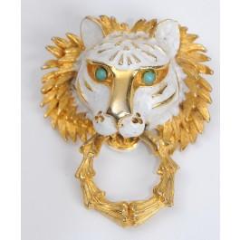 Vintage Pauline Rader Gold-tone Lion Head Pin Brooch Pendant