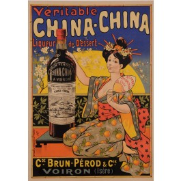 """Original Vintage French Alcohol Poster for """"CHINA CHINA"""" Liqueur by Oge ca. 1902"""