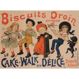 "Original Vintage French Food Poster ""Biscuits Droin - Le Cake Walk"" by Oge"
