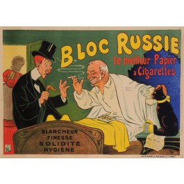 """Original Vintage French Poster for """"Bloc Russie"""" Cigarette Paper by Oge ca. 1905"""