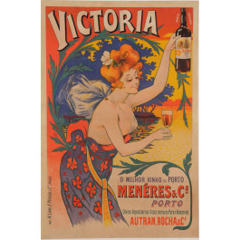 """Original Vintage French Alcohol Poster for """"Victoria"""" Porto by Oge ca. 1900"""