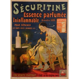 "Original Vintage French Poster for ""Securitine Essence Perfumee"" by Oge ca. 1900"