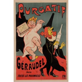 "Original Vintage French Poster for ""Purgatif Geraudel"" Remedy by Oge ca. 1900"