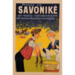 """Original Vintage French Alcohol Poster """"Savonike"""" Soap  by OGE ca. 1911"""