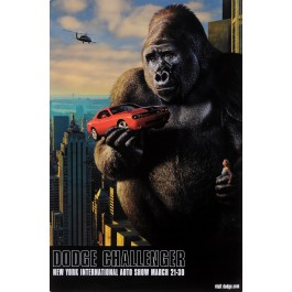 "Original American Poster for King Kong ""Dodge Challenger"" New York Auto Show 1990's"