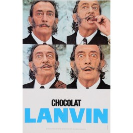 "Original Vintage French Poster for ""Chocolat Lanvin"" Featuring Salvador Dali"