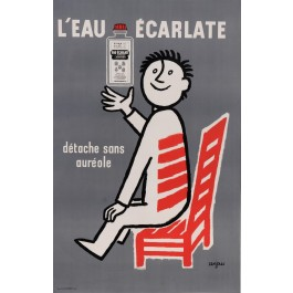 """Original Vintage French Poster for """"L'eau Eclarte"""" Cleaning by Savignac 1961"""