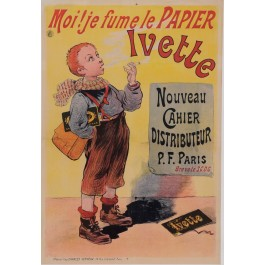 """Original Vintage French Children Poster for """"Ivette"""" Rolling Cigrarette Paper by Oge ca. 1900"""