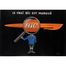 "Original French Poster Advertising ""BIC"" Pens by Savignac 1950's"