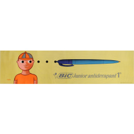 """Original Vintage French 2 PARTS Poster for """"BIC"""" Pens by Savignac 1966"""