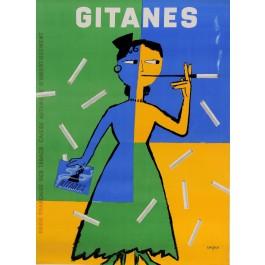 "Original Vintage French Poster  ""Cigarettes Gitanes"" by Savignac 1954"