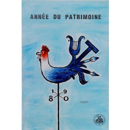 "Original Vintage French Poster for ""Annee de Patrimoine"" Coq Rooster by Savignac 1976"
