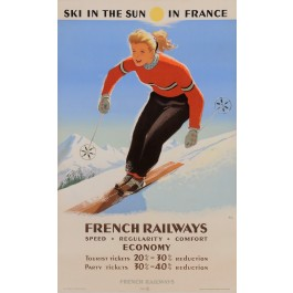 "Original Vintage 2ND EDITION French Poster ""Ski in the Sun in France"" by Abel"